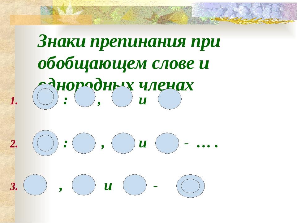 Знаки препинания при обобщающем слове и однородных членах : , и : , и - … . ,...