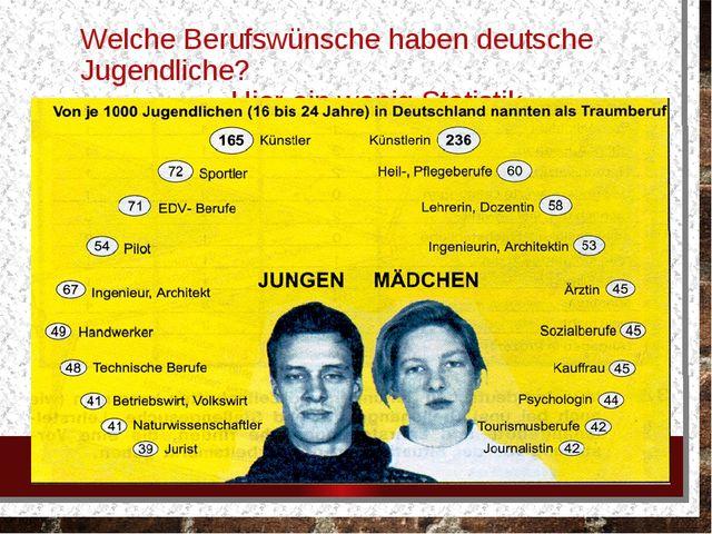 Welche Berufswünsche haben deutsche Jugendliche? Hier ein wenig Statistik.