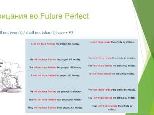 Отрицания во Future Perfect