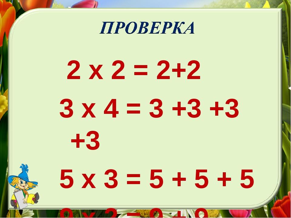2 х 2 = 2+2 3 х 4 = 3 +3 +3 +3 5 х 3 = 5 + 5 + 5 9 х 2 = 9 + 9