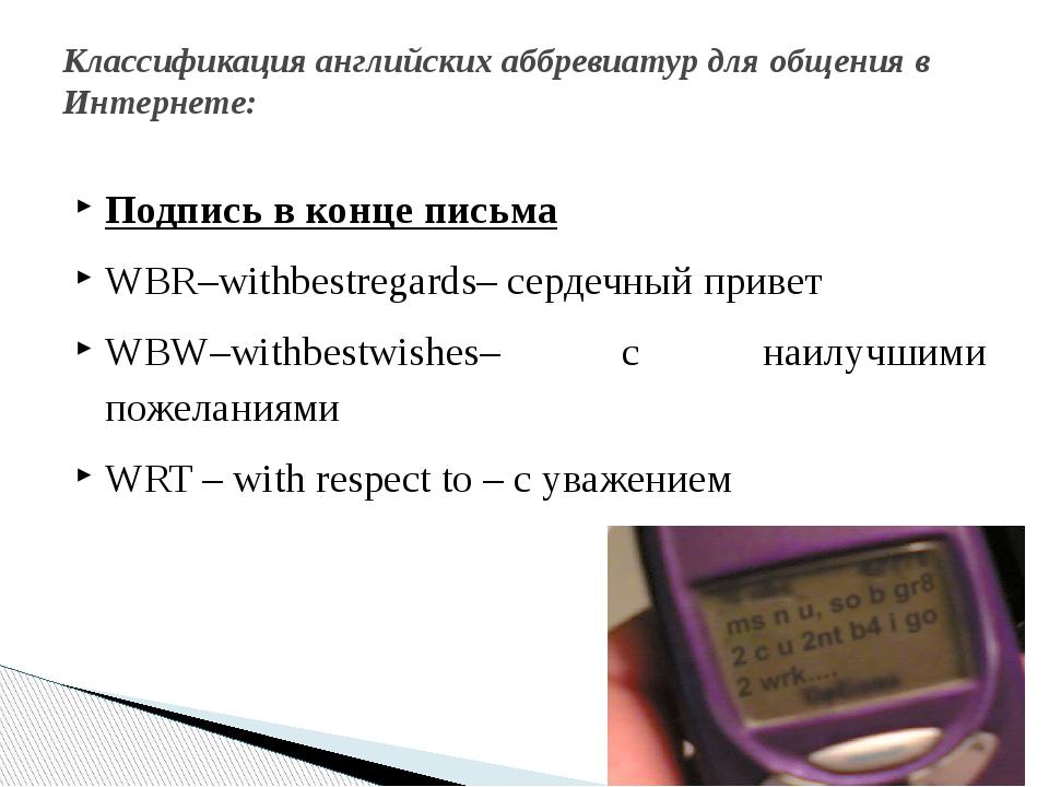 Подпись в конце письма WBR–withbestregards– сердечный привет WBW–withbestwish...