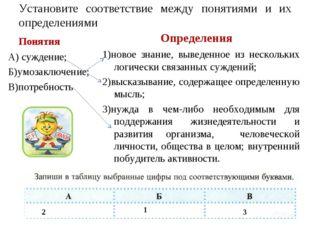 Установите соответствие между понятиями и их определениями Понятия А) суждени