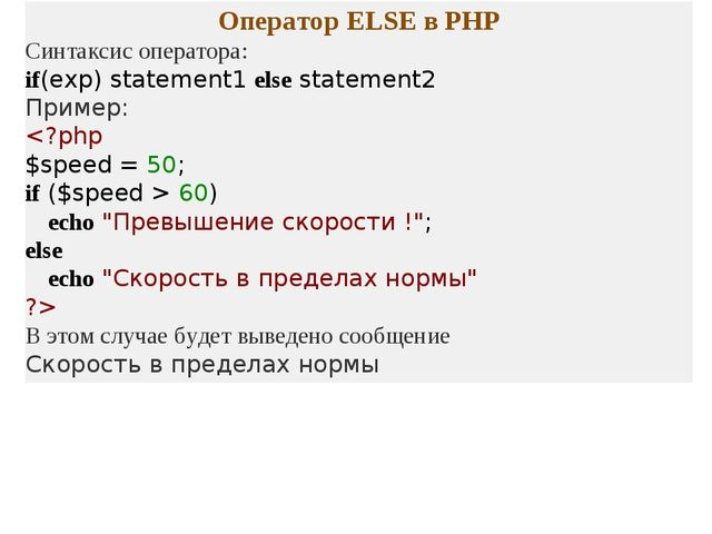 Оператор ELSE в PHP Синтаксис оператора: if(exp) statement1 else statement2 П...