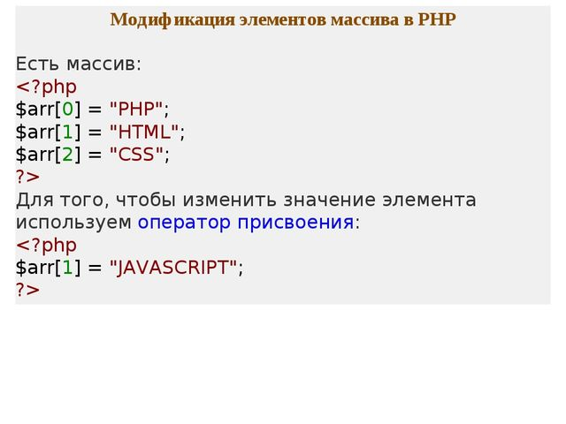 Модификация элементов массива в PHP Есть массив:  Для того, чтобы изменить зн...