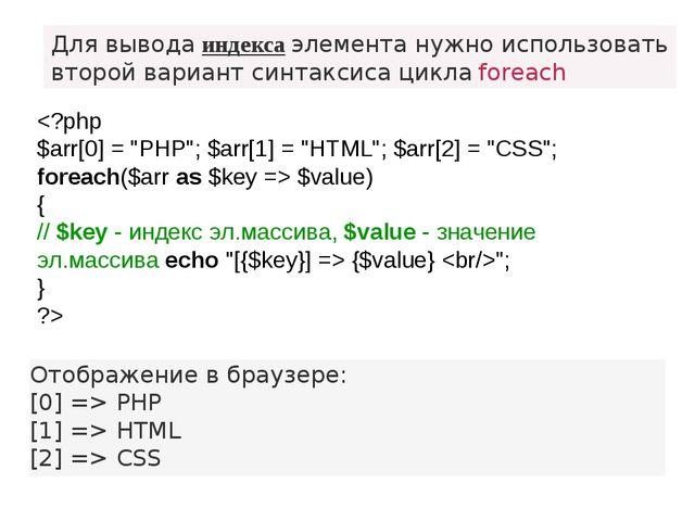 Для вывода индекса элемента нужно использовать второй вариант синтаксиса цикл...