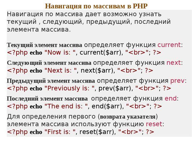 Навигация по массивам в PHP Навигация по массива дает возможно узнать текущий...