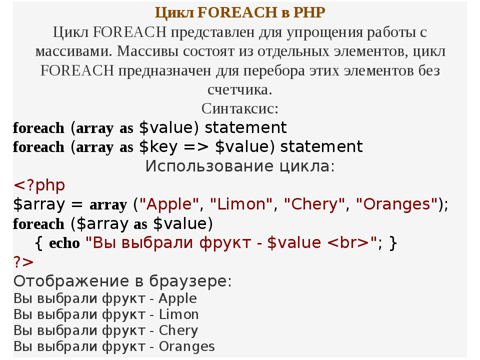 Цикл FOREACH в PHP Цикл FOREACH представлен для упрощения работы с массивами....