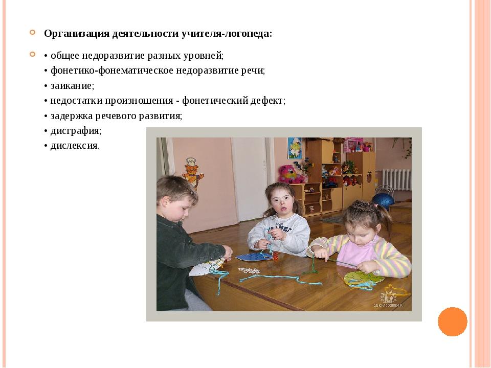 Организация деятельности учителя-логопеда: • общее недоразвитие разных уровне...