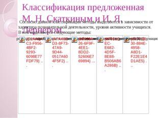 Классификация предложенная М. Н. Скаткиным и И. Я. Лернером. Согласно данной