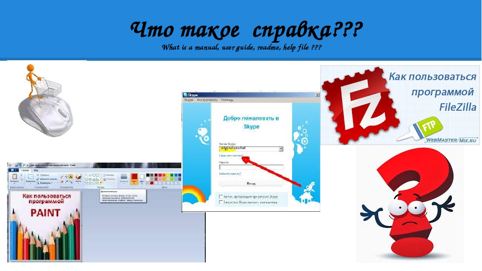 Что такое справка??? What is a manual, user guide, readme, help file ???