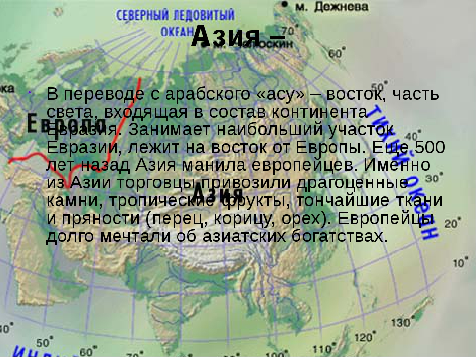 Азия – В переводе с арабского «асу» – восток, часть света, входящая в состав...