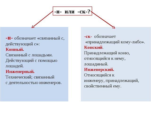 -н- или -ск-? -н- обозначает «связанный с, действующий с»: Конный. Связанный...