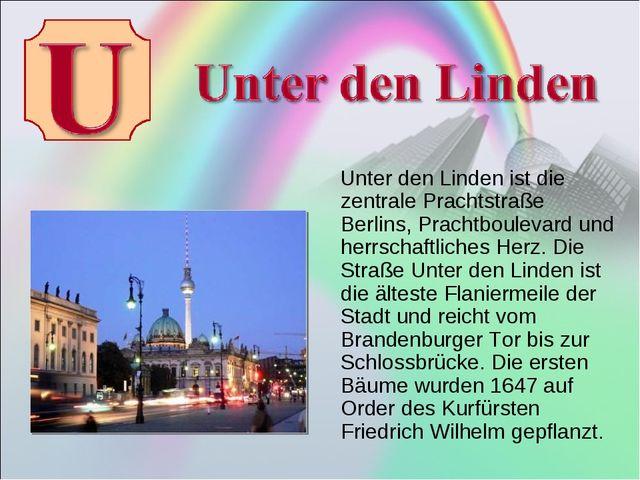 Unter den Linden ist die zentrale Prachtstraße Berlins, Prachtboulevard und...