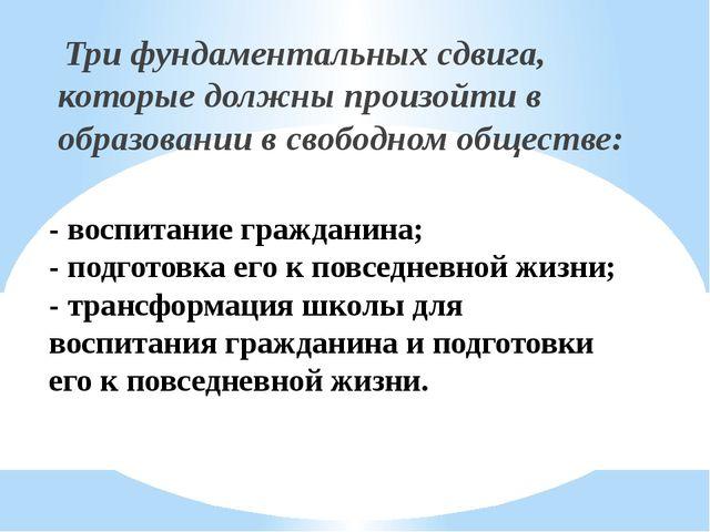 - воспитание гражданина; - подготовка его к повседневной жизни; - трансформац...