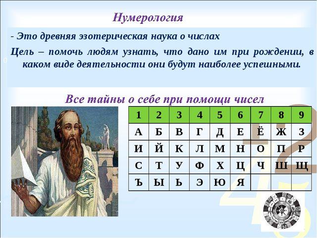 - Это древняя эзотерическая наука о числах Цель – помочь людям узнать, что да...