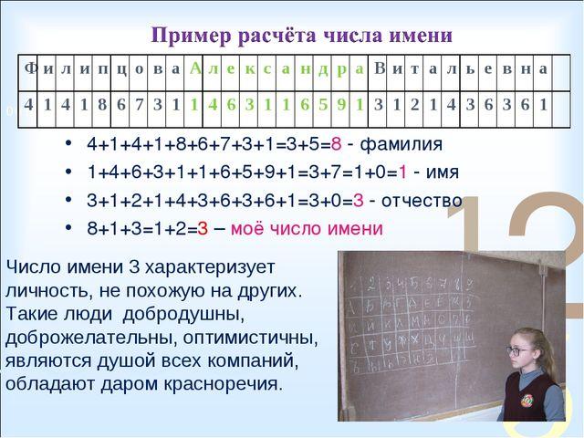 4+1+4+1+8+6+7+3+1=3+5=8 - фамилия 1+4+6+3+1+1+6+5+9+1=3+7=1+0=1 - имя 3+1+2+1...