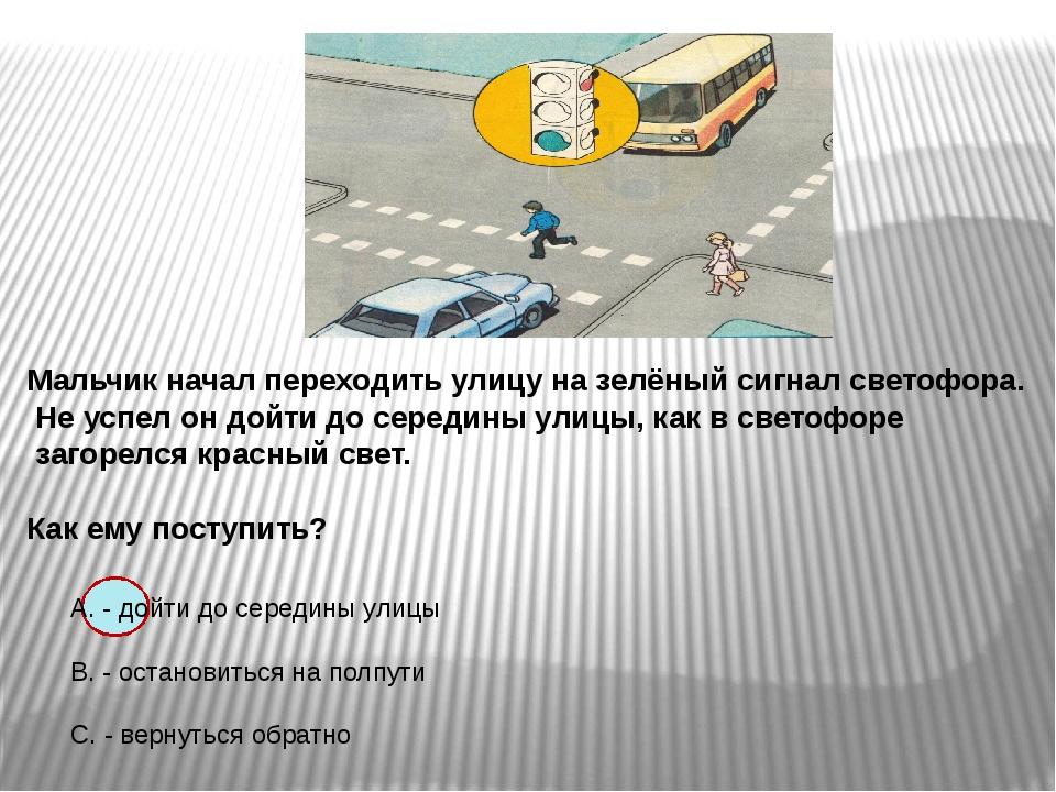 Мальчик начал переходить улицу на зелёный сигнал светофора. Не успел он дойт...
