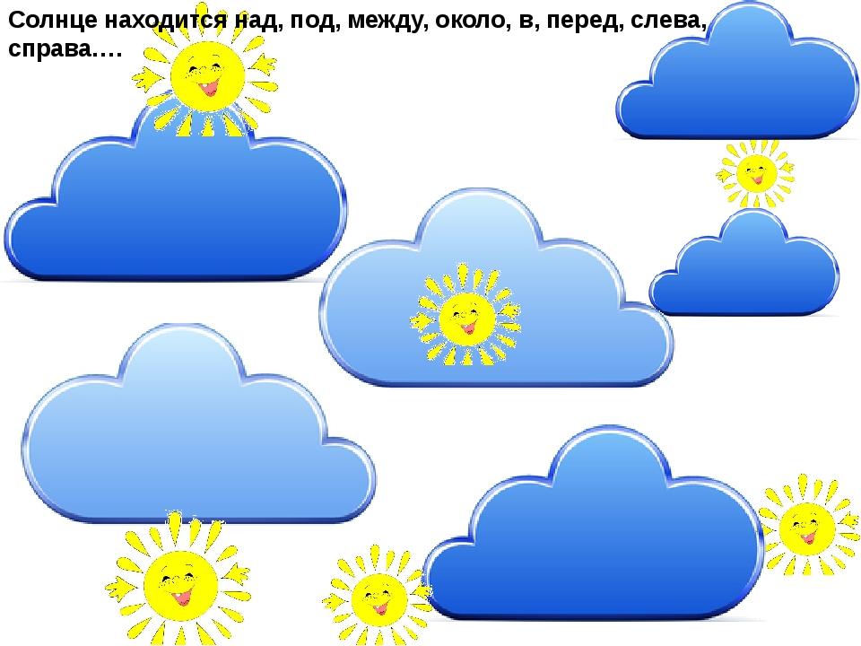 Солнце находится над, под, между, около, в, перед, слева, справа….