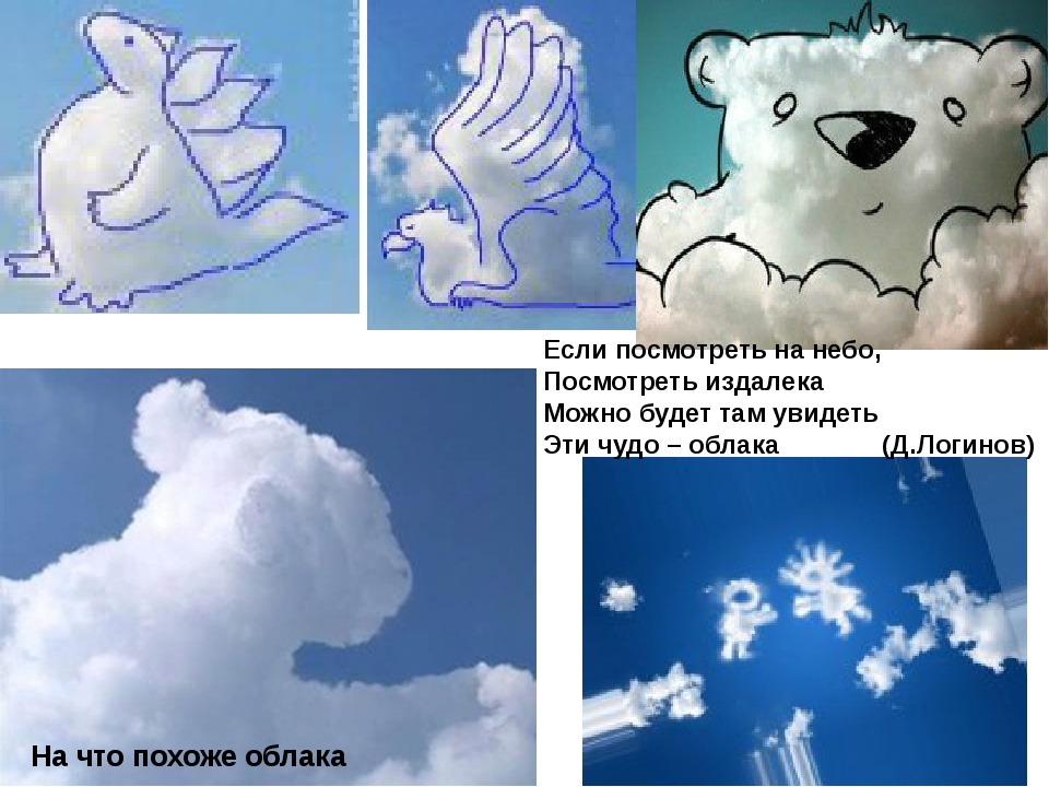 На что похоже облака Если посмотреть на небо, Посмотреть издалека Можно будет...