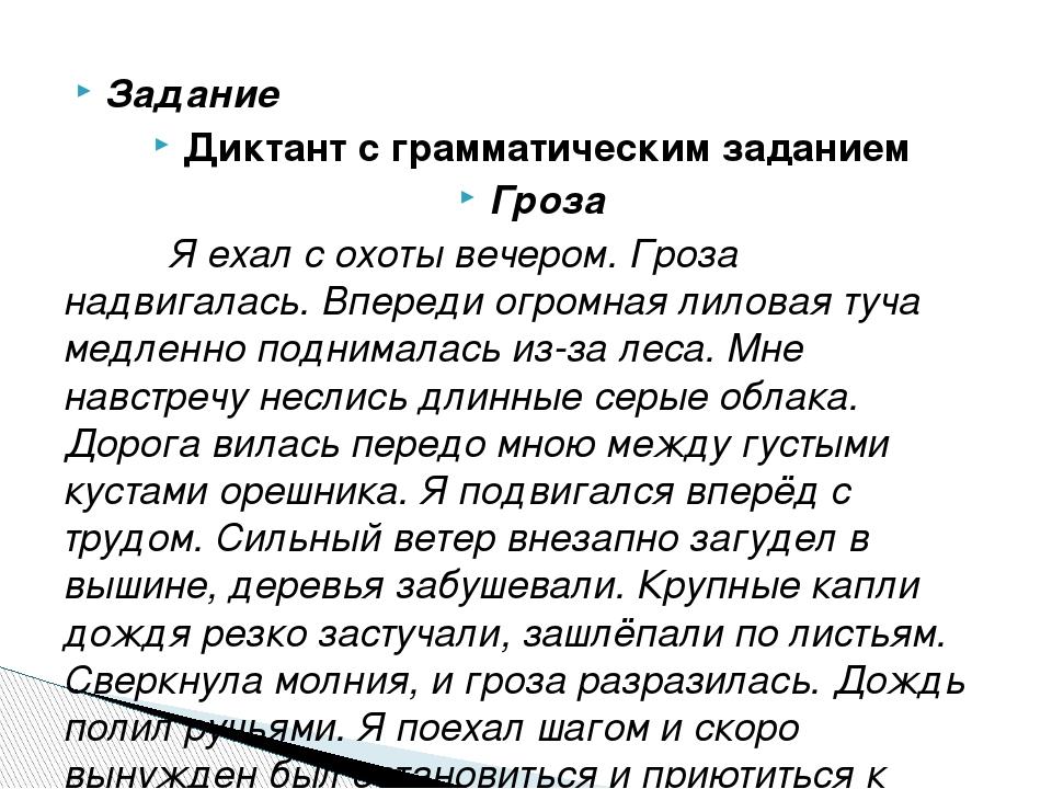 Диктант по русскому языку 7 класс гроза