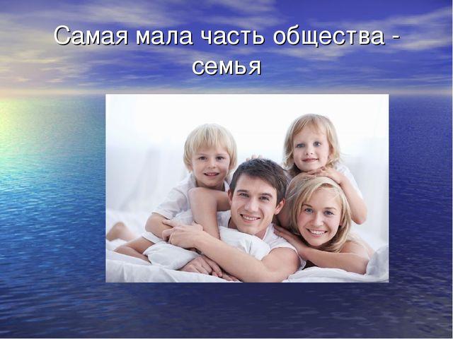 Самая мала часть общества - семья
