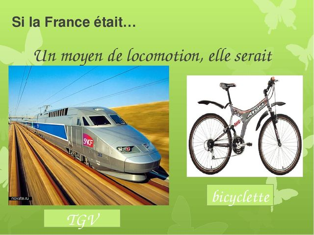 Si la France était… Un moyen de locomotion, elle serait bicyclette TGV