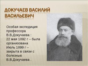 Особая экспедиция профессора В.В.Докучаева : 22 мая 1892 г – была организован
