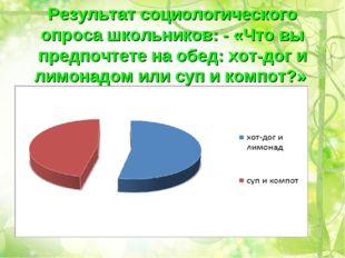 Результат социологического опроса школьников: - «Что вы предпочтете на обед: