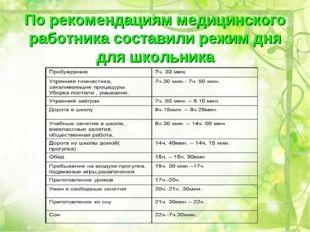 По рекомендациям медицинского работника составили режим дня для школьника
