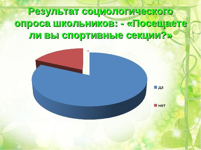 Результат социологического опроса школьников: - «Посещаете ли вы спортивные с...