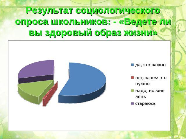 Результат социологического опроса школьников: - «Ведете ли вы здоровый образ...