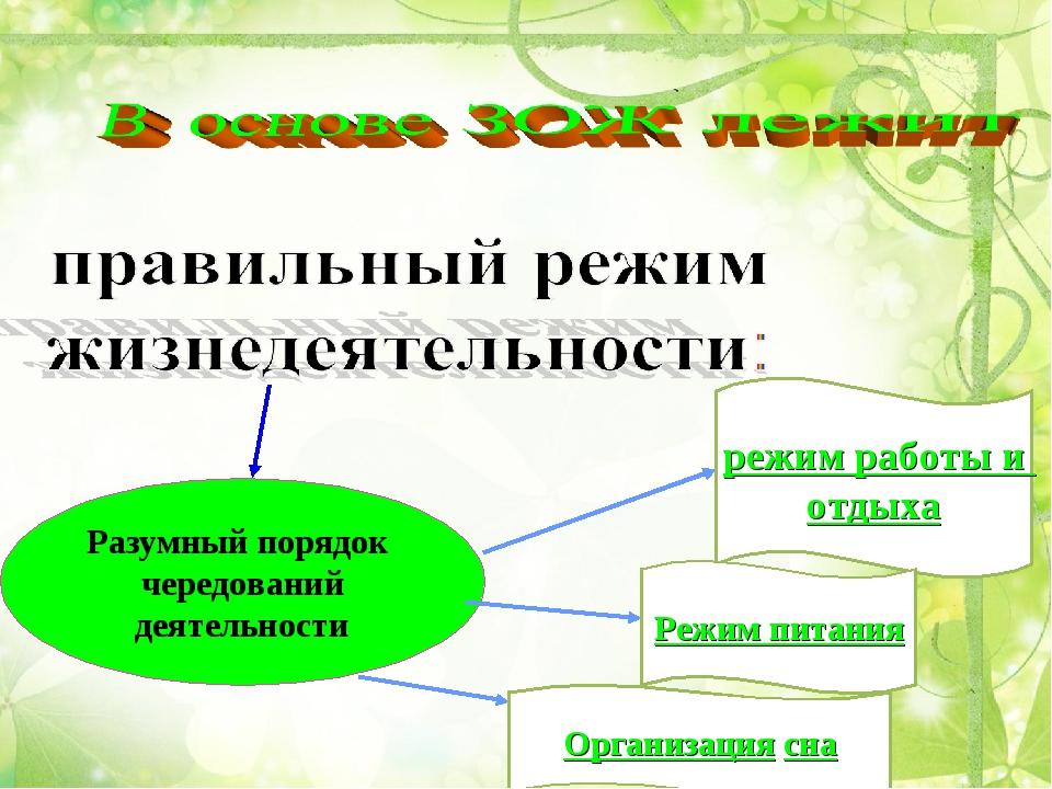 Разумный порядок чередований деятельности режим работы и отдыха Режим питания...