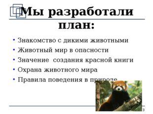Мы разработали план: Знакомство с дикими животными Животный мир в опасности З