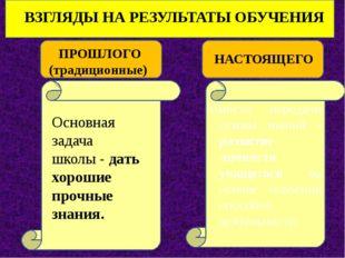 ВЗГЛЯДЫ НА РЕЗУЛЬТАТЫ ОБУЧЕНИЯ ПРОШЛОГО (традиционные) НАСТОЯЩЕГО Основная з