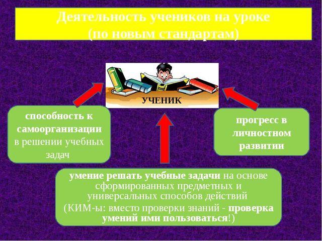 Деятельность учеников на уроке (по новым стандартам) способность к самооргани...