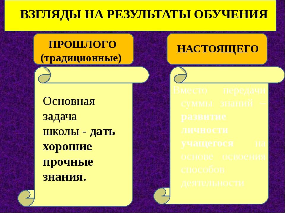 ВЗГЛЯДЫ НА РЕЗУЛЬТАТЫ ОБУЧЕНИЯ ПРОШЛОГО (традиционные) НАСТОЯЩЕГО Основная з...