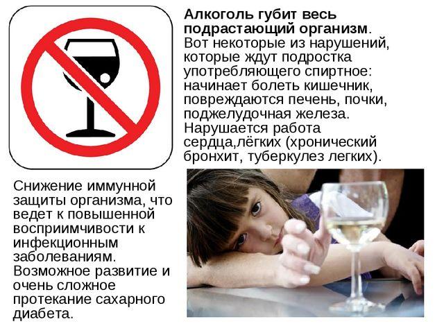 Алкоголь губит весь подрастающий организм. Вот некоторые из нарушений, котор...