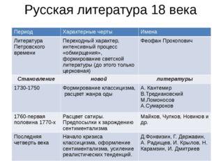 Русская литература 18 века Период Характерные черты Имена Литература Петровск