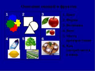 Описание овощей и фруктов 1. Цвет 2. Форма 3. Величина 4. Вкус 5. Место произ