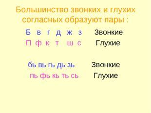 Большинство звонких и глухих согласных образуют пары : Б в г д ж з Звонкие П
