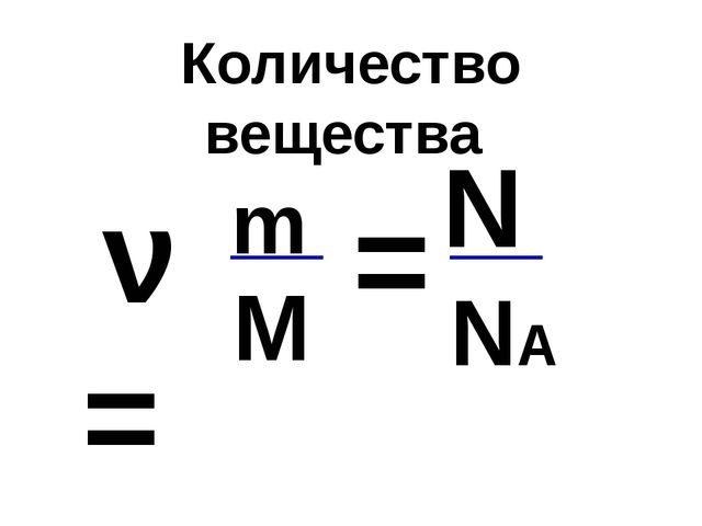 Количество вещества ν = m М N NА =