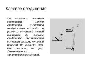 Клеевое соединение На чертежах клеевого соединения место соединения элементов