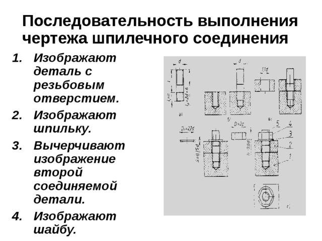 Последовательность выполнения чертежа шпилечного соединения Изображают деталь...