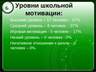 Уровни школьной мотивации: Высокий уровень – 17 человек - 57%. Средний урове