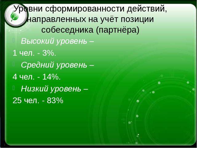Уровни сформированности действий, направленных на учёт позиции собеседника (п...