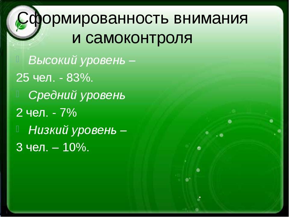 Сформированность внимания и самоконтроля Высокий уровень – 25 чел. - 83%. Сре...