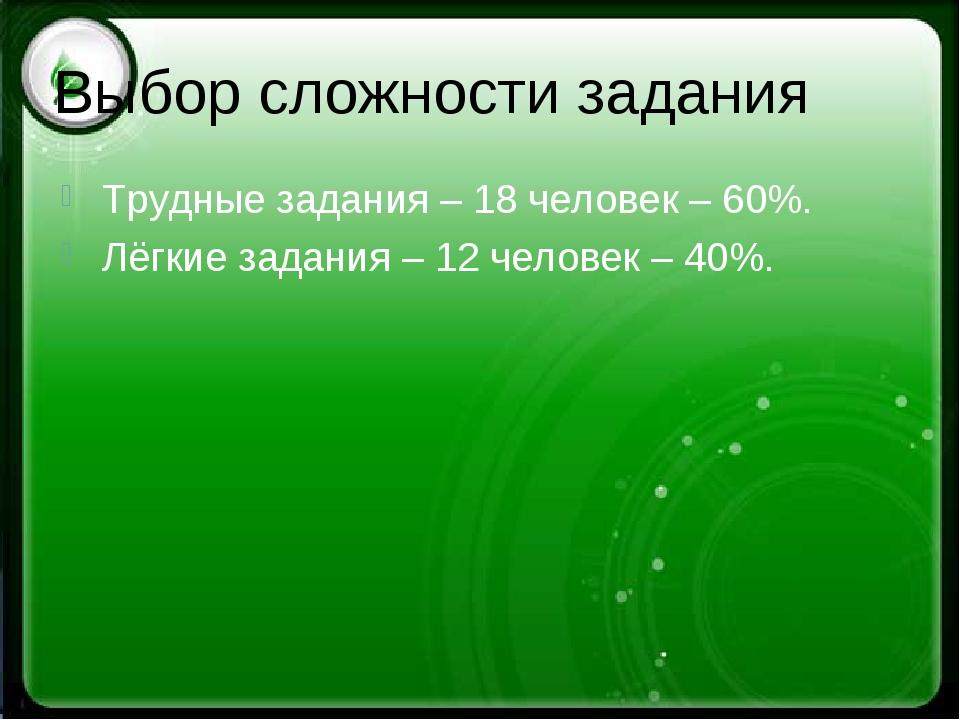 Выбор сложности задания Трудные задания – 18 человек – 60%. Лёгкие задания –...
