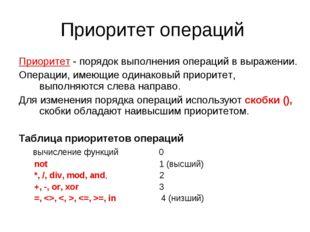 Приоритет операций Приоритет - порядок выполнения операций в выражении. Опера