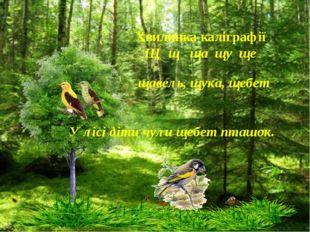 Хвилинка каліграфії Щ щ ща щу ще щавель, щука, щебет У лісі діти чули щебет