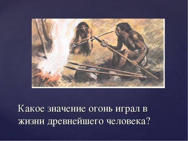 Какое значение огонь играл в жизни древнейшего человека?